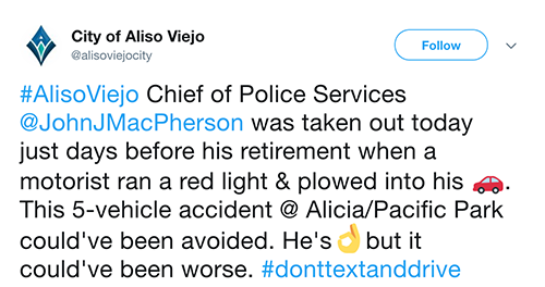 Aliso Viejo Tweet on Police Chief Car Accident on Februrary 28th
